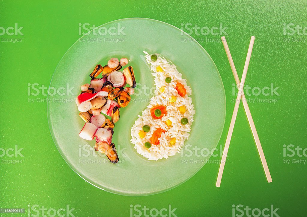 Chinese asian seafood and risotto with side dish royalty-free stock photo