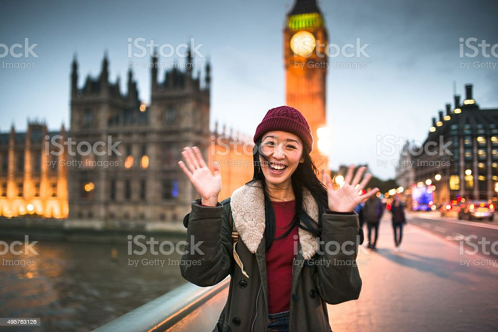 chinese backpacker traveling in london stock photo