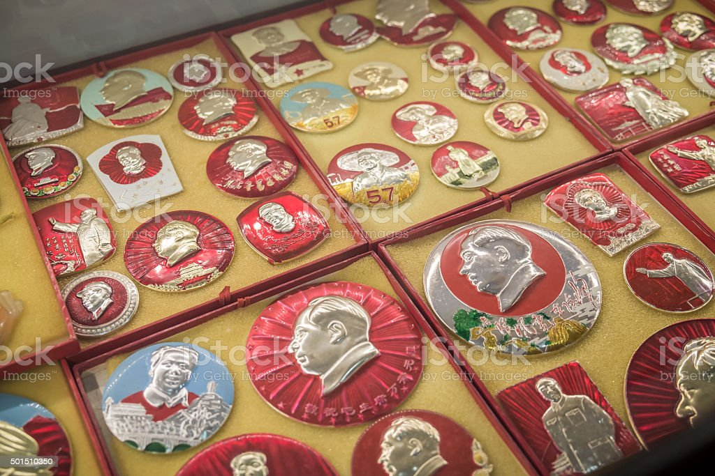 chinese badges with Mao zedong stock photo