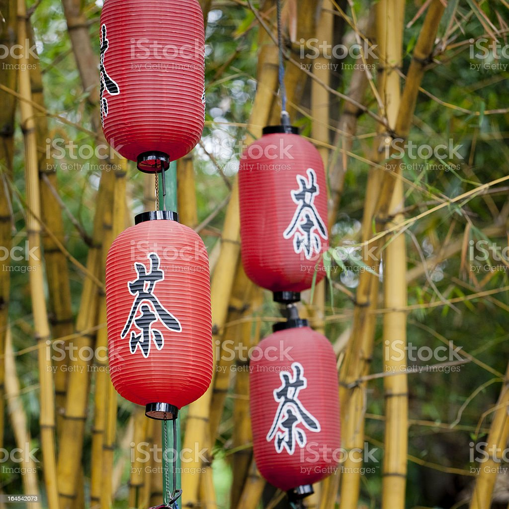chinese bamboo and Red Lantern royalty-free stock photo