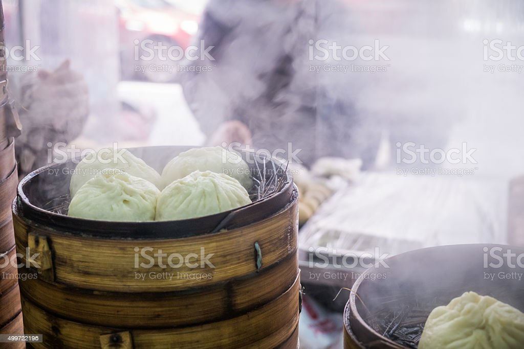 Chinese bamboo steamers stock photo