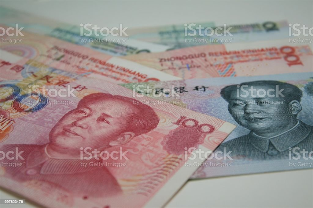 Chinese bank notes stock photo