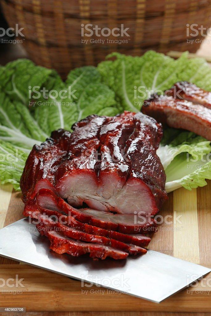 Chinese BBQ roast pork slice stock photo