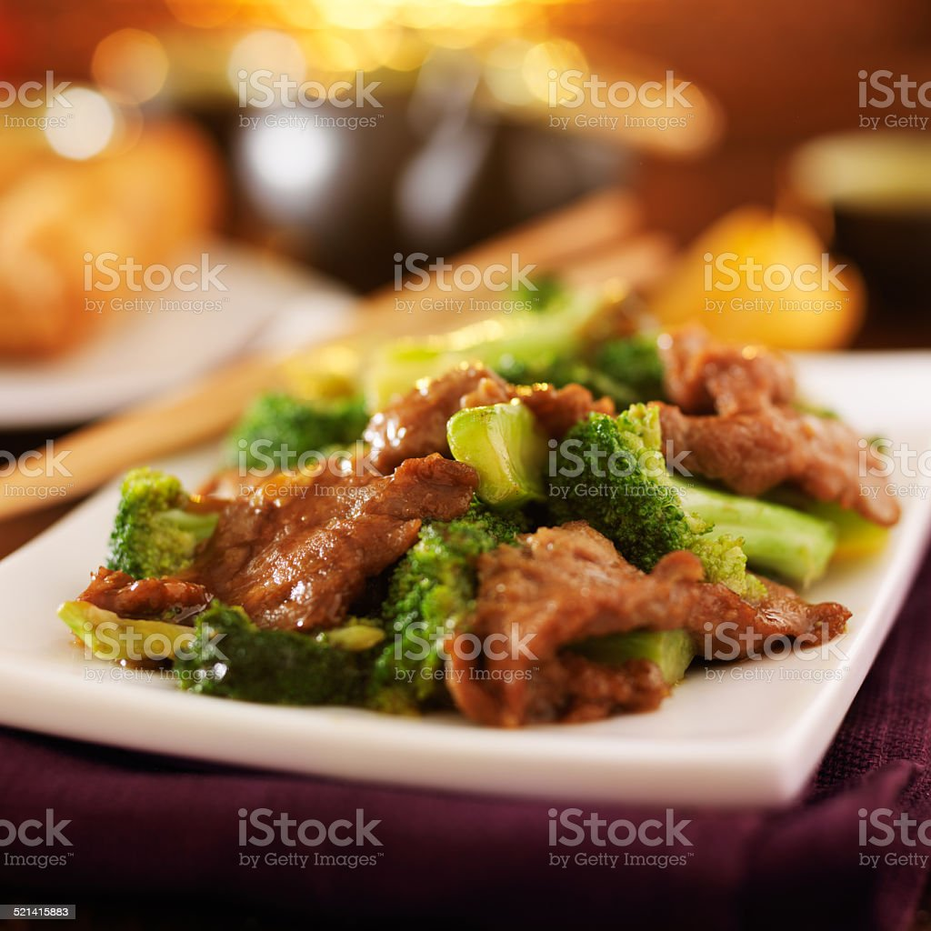 chinese beef and broccoli stir fry stock photo