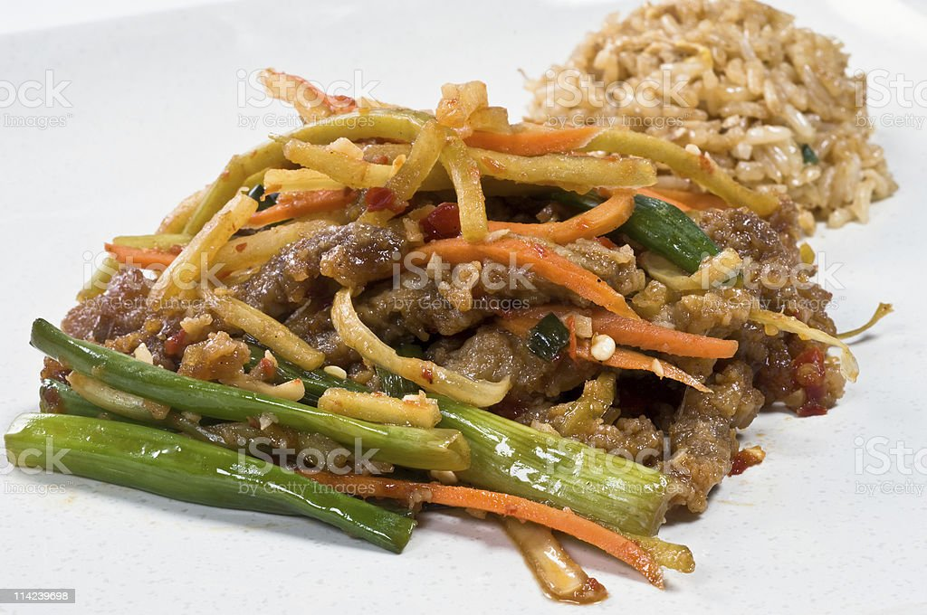 Chinese Beef and Vegetable dinner stock photo