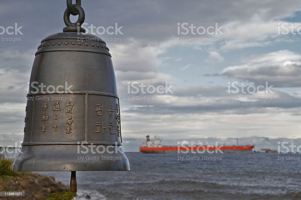 Chinese Bell and Ship stock photo