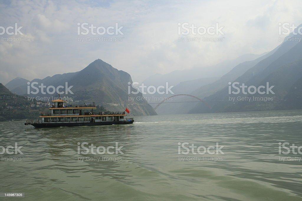 Chinese boat on Yangtze River stock photo