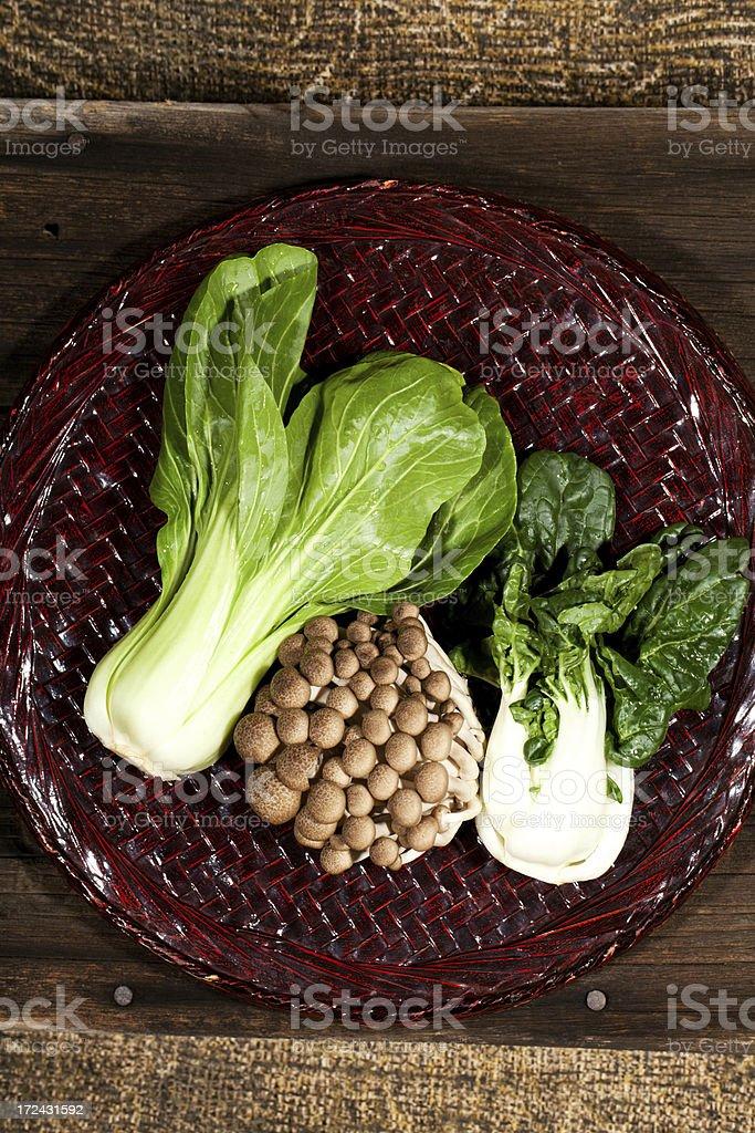 Chinese Bok Choy & Mushroom on bamboo Tray stock photo