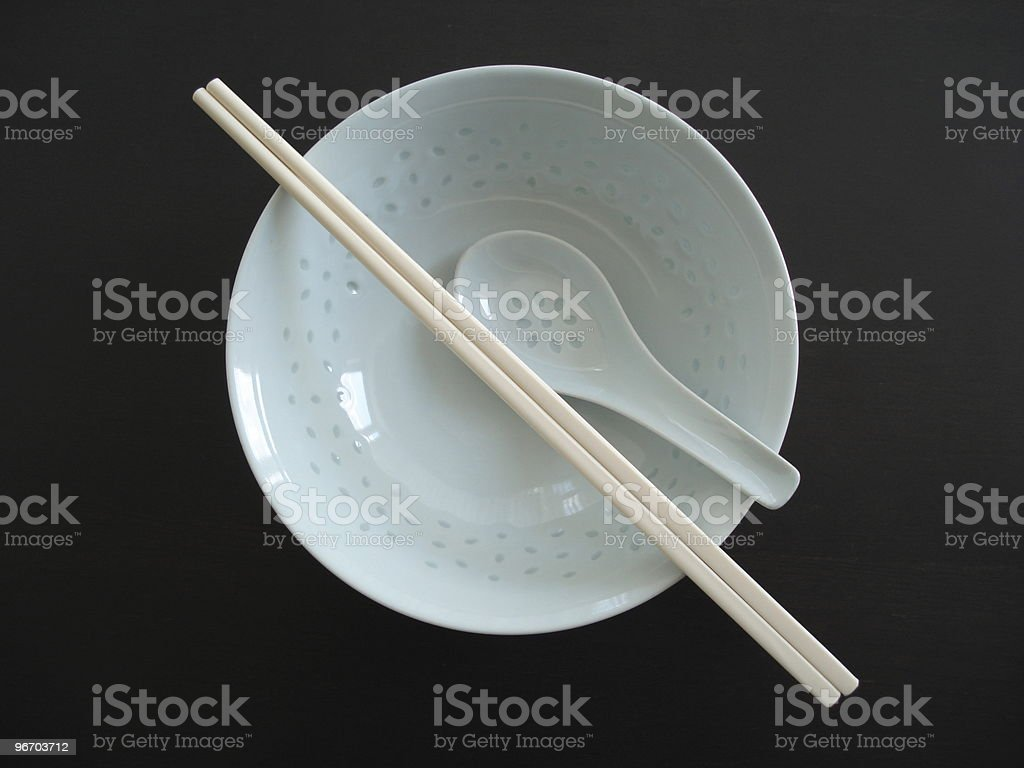 Chinese bowl , chopsticks and spoon royalty-free stock photo