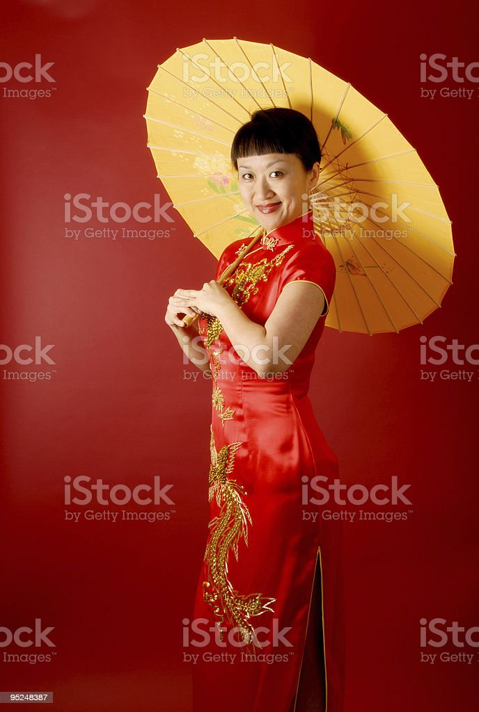 Chinese Bride With A Parasol stock photo