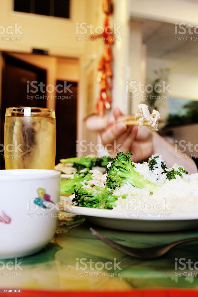 Chinese Brocolli and Rice royalty-free stock photo