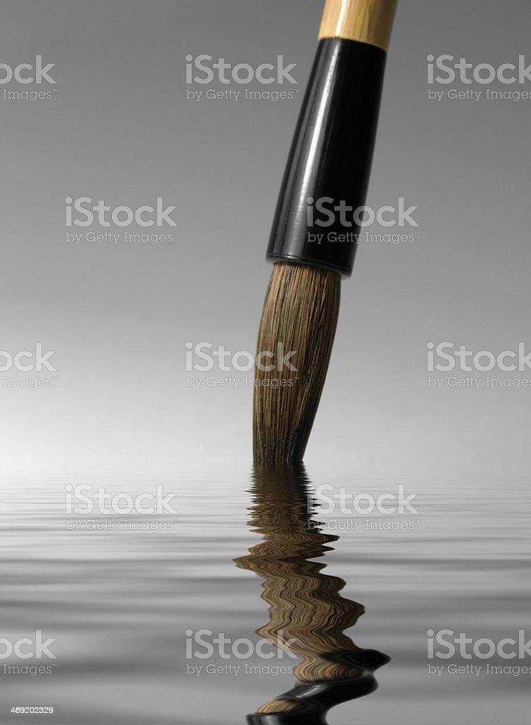 chinese brush tip detail stock photo