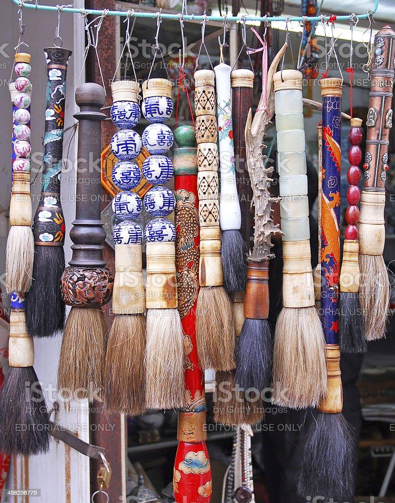 chinese brushes stock photo