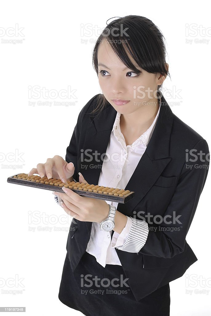 Chinese business girl use abacus royalty-free stock photo