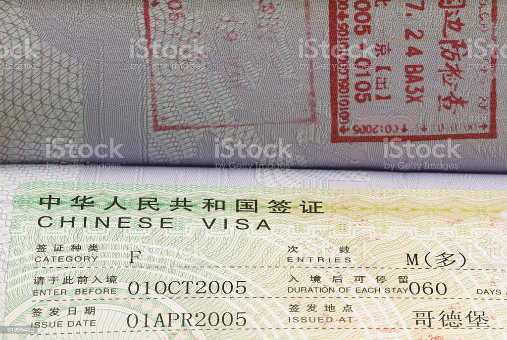 Chinese business visa and stamps royalty-free stock photo
