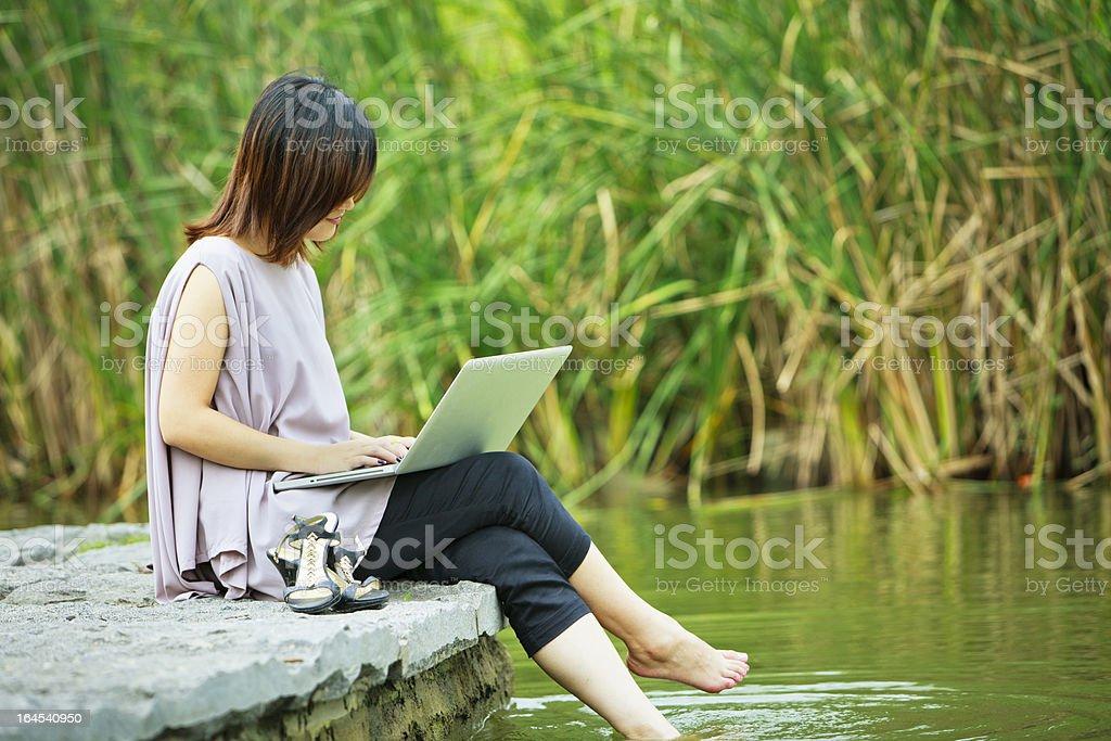 chinese businesswoman use laptop royalty-free stock photo