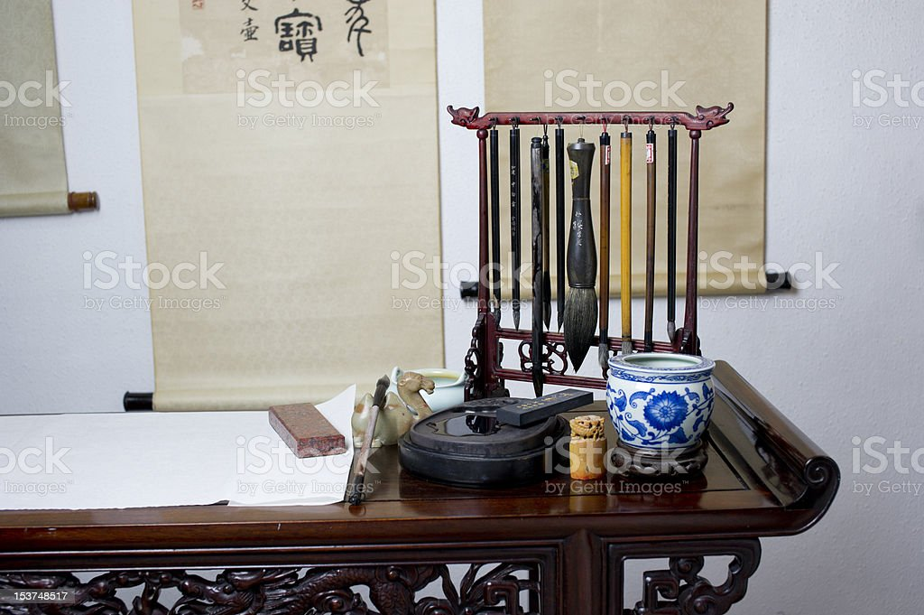 chinese calligraphy stationery items stock photo