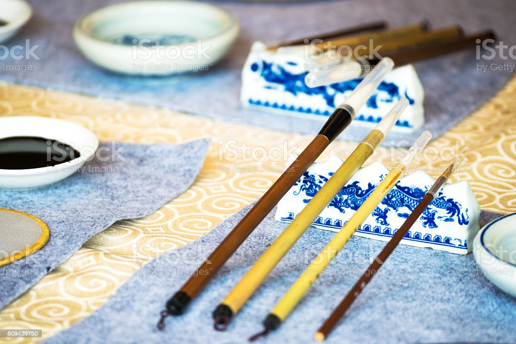 chinese calligraphy tools on table stock photo