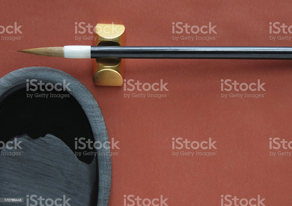 Chinese calligraphy tools stock photo