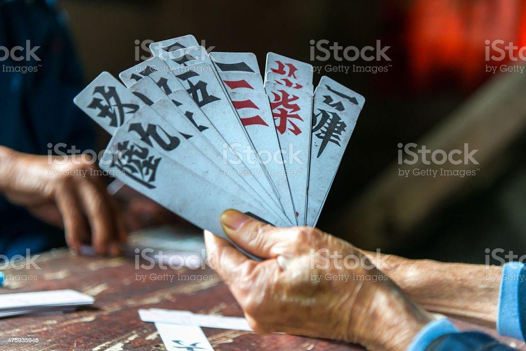 Chinese card game (dou di zhou) stock photo
