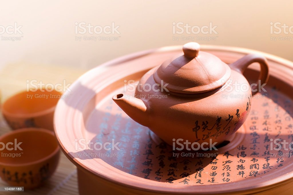 Chinese ceramic teapot and cups. royalty-free stock photo