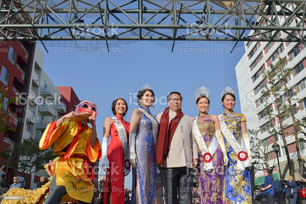 Chinese chamber president with queen and princess stock photo