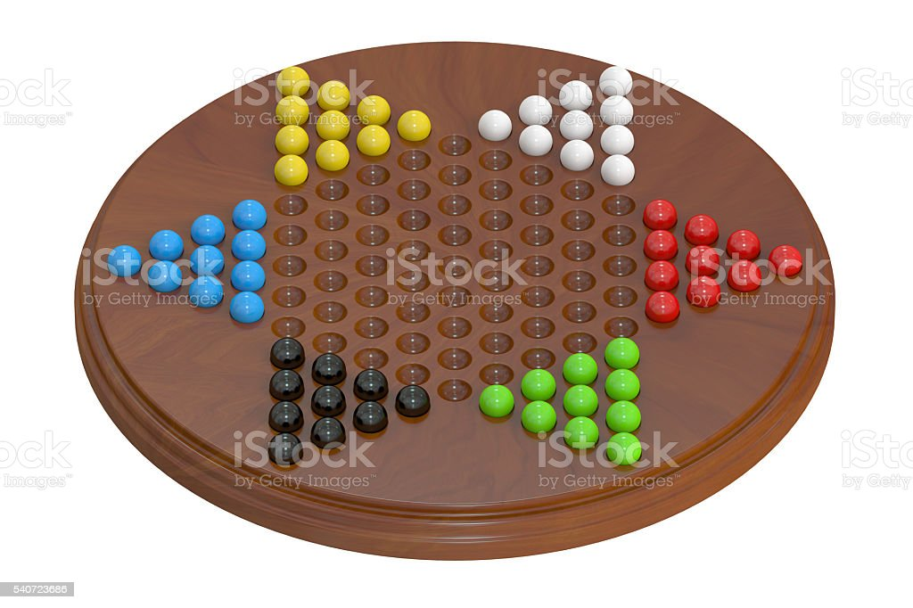 chinese checkers, 3D rendering stock photo