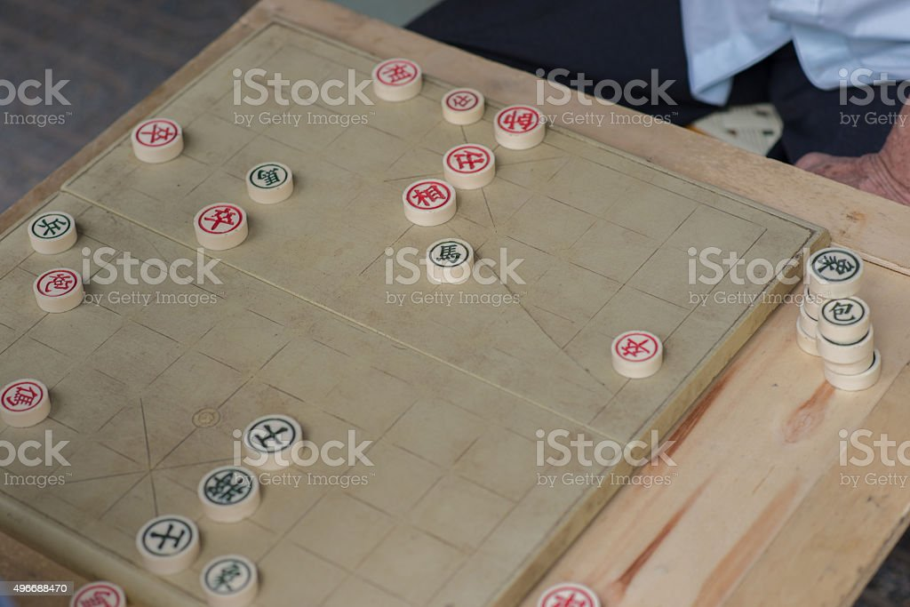 Chinese Chess - a popular game for Asian elderly people stock photo