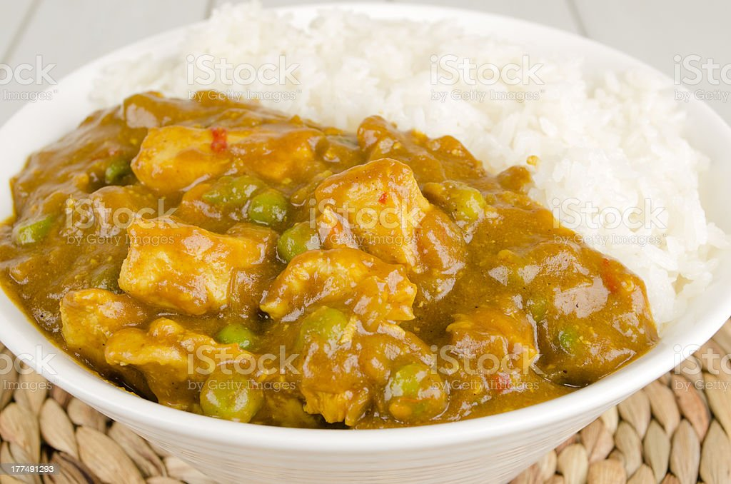 Chinese Chicken Curry & Steamed Rice stock photo