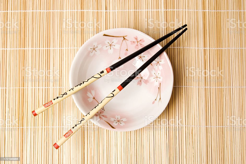Chinese Chopsticks With Bamboo Background (Top View) royalty-free stock photo