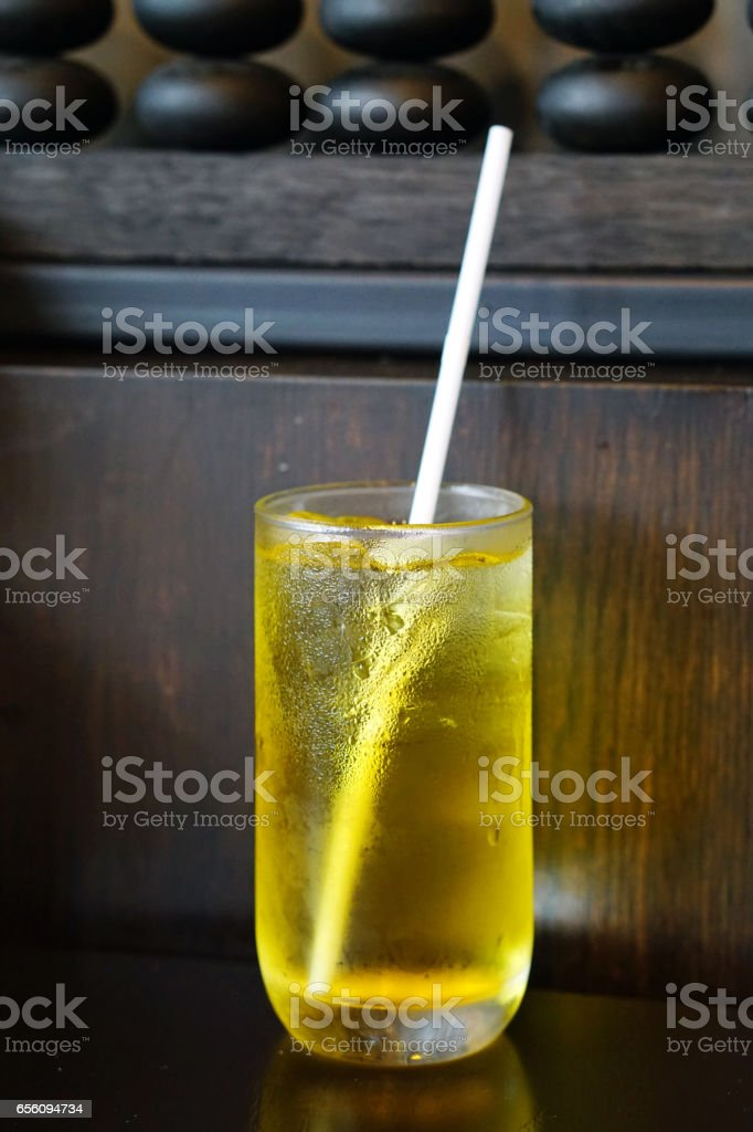 Chinese chrysanthemum tea with ice on wooden table stock photo