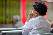 Chinese Citizens Watching Stock Market, Beijing 2015