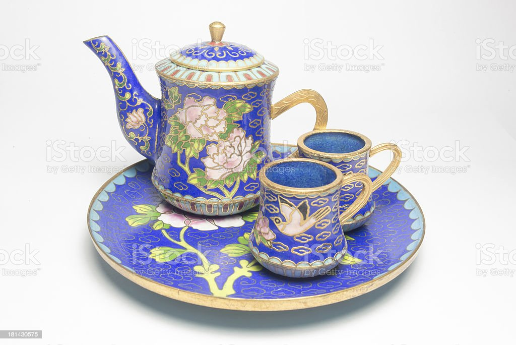 Chinese Cloisonne tea set royalty-free stock photo