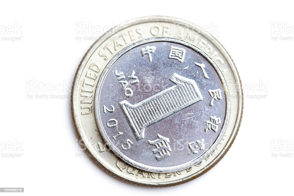 Chinese Coin and us quarter dollar coin isolated stock photo