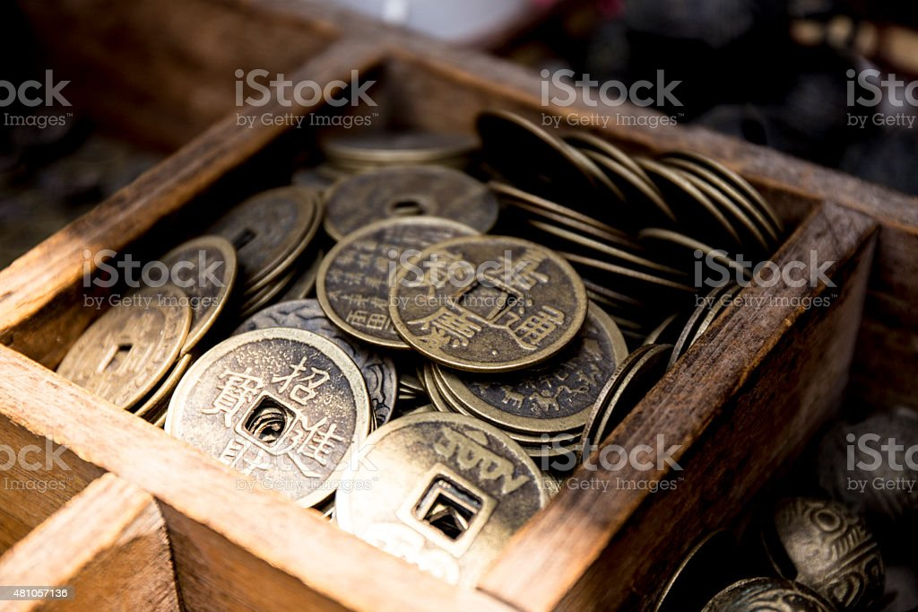 Chinese Coin, Good Fortune stock photo