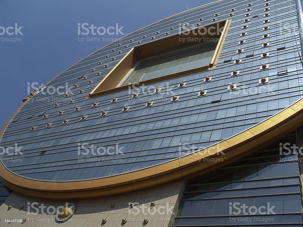 Chinese coin shape building stock photo