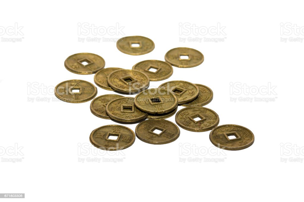 Chinese coins at white background stock photo