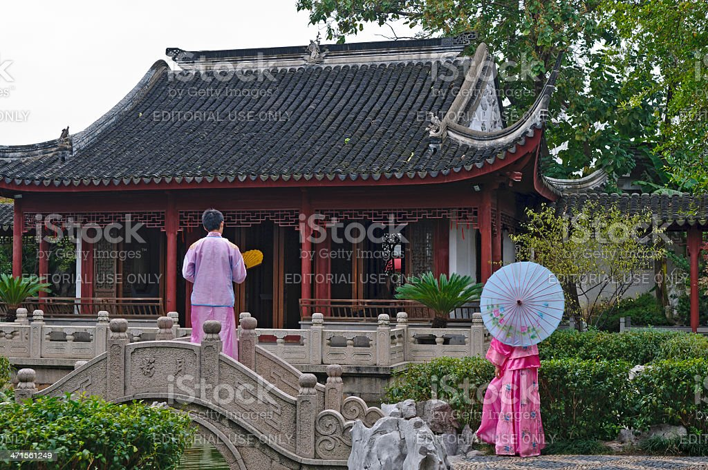 Chinese Couple in Traditional Clothes Suzhou royalty-free stock photo