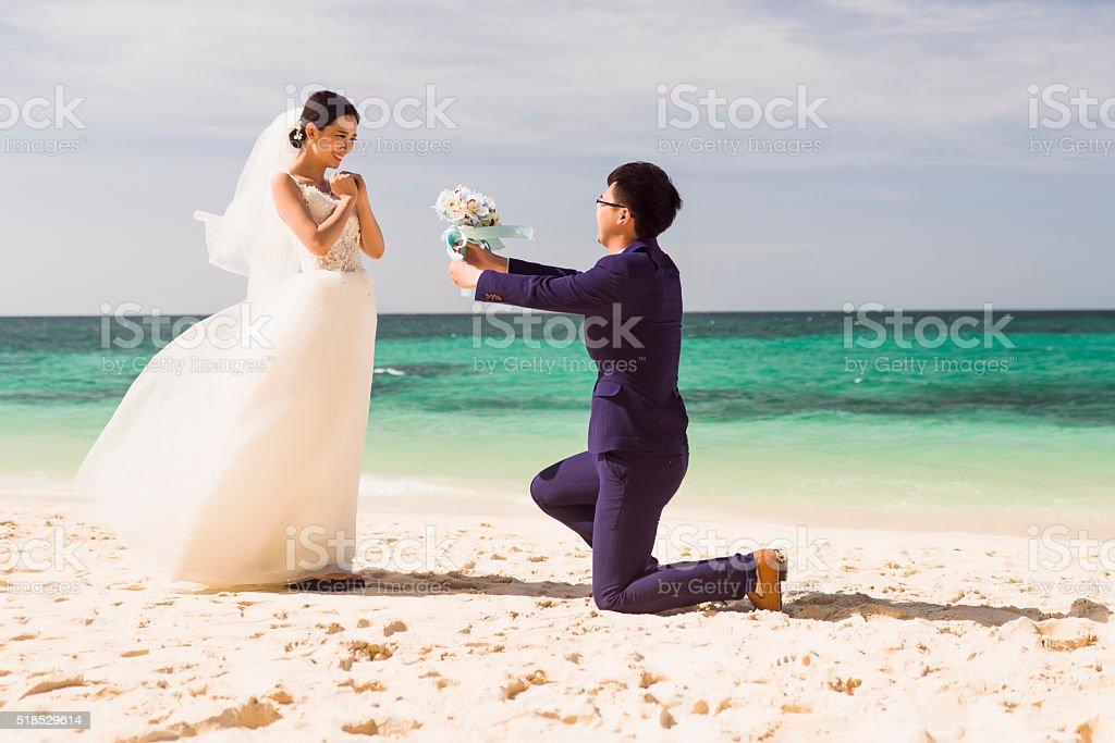 Chinese couple wedding photoshoot. stock photo