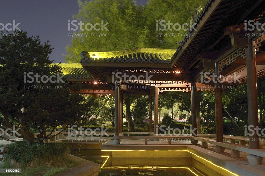 Chinese courtyard at night royalty-free stock photo
