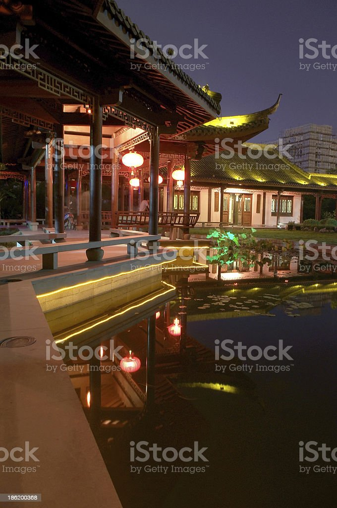 Chinese courtyard at night royalty-free stock photo