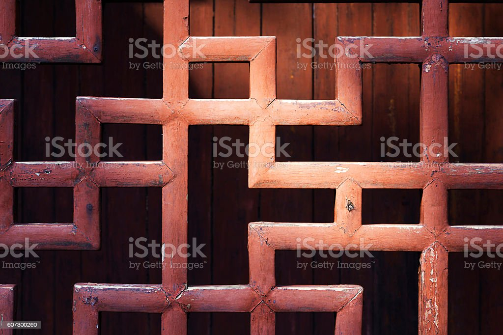 Chinese courtyard hollow out a fence stock photo
