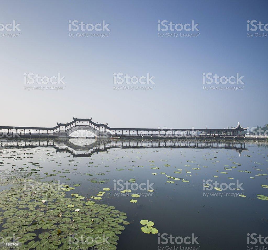 Chinese covered bridge stock photo