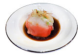 Chinese Crab Dumpling in red color opped with Katsuobushi