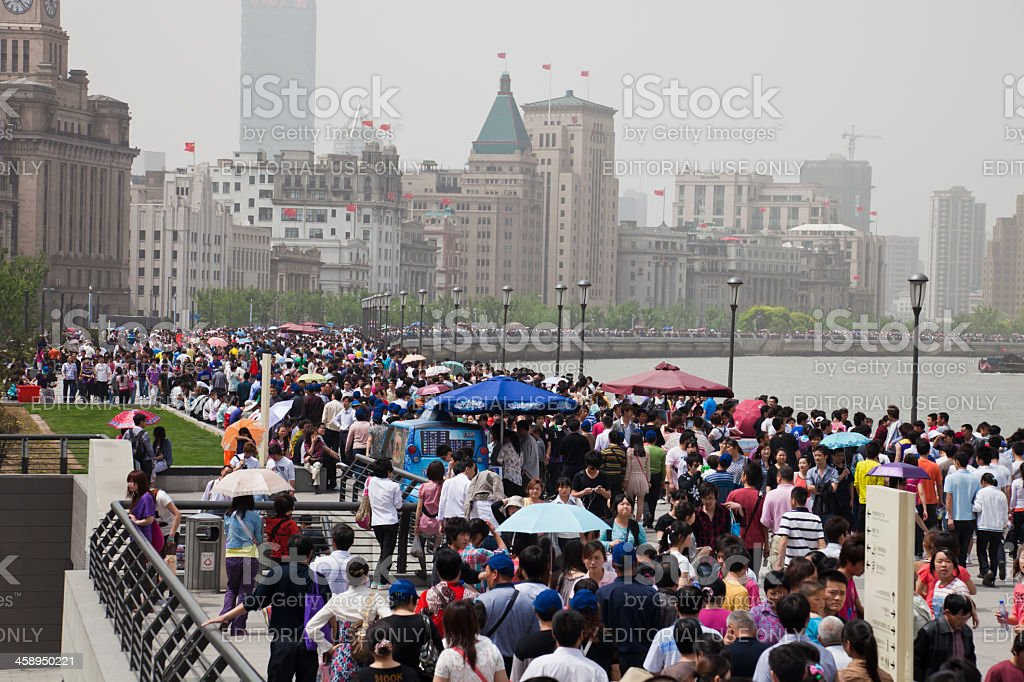 Chinese crowd, Shanghai, China royalty-free stock photo