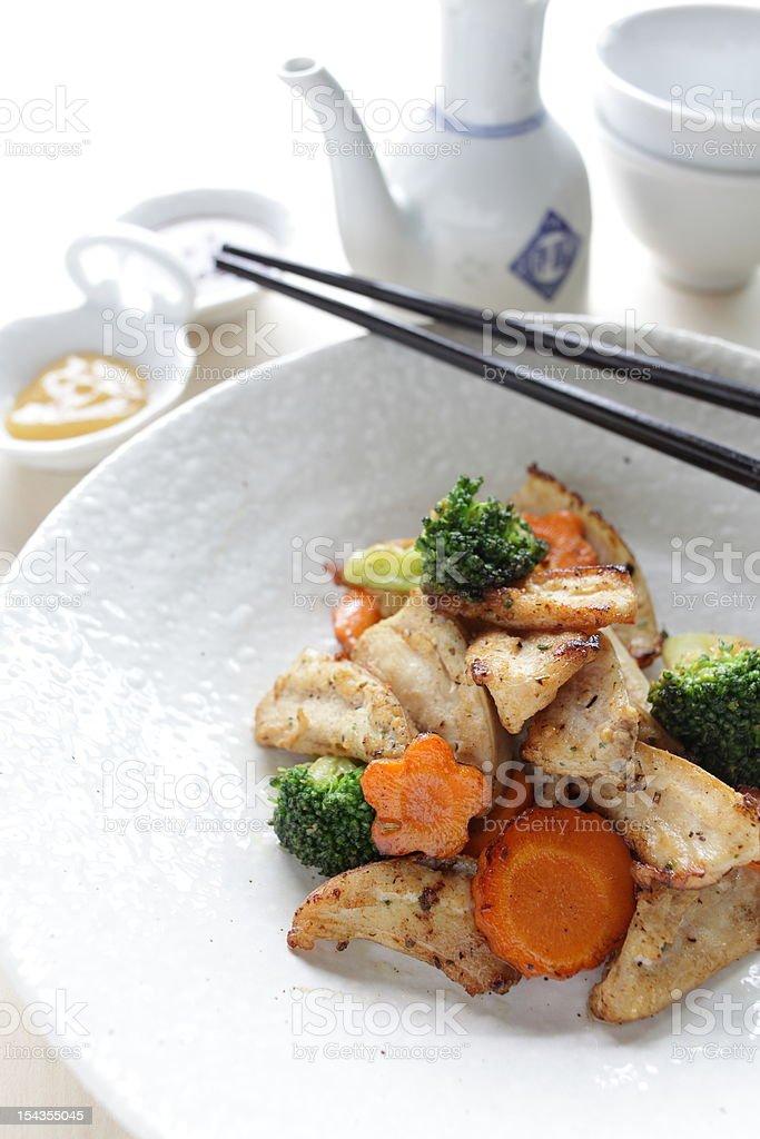 Chinese cuisine, chicken soft bone stir fried royalty-free stock photo