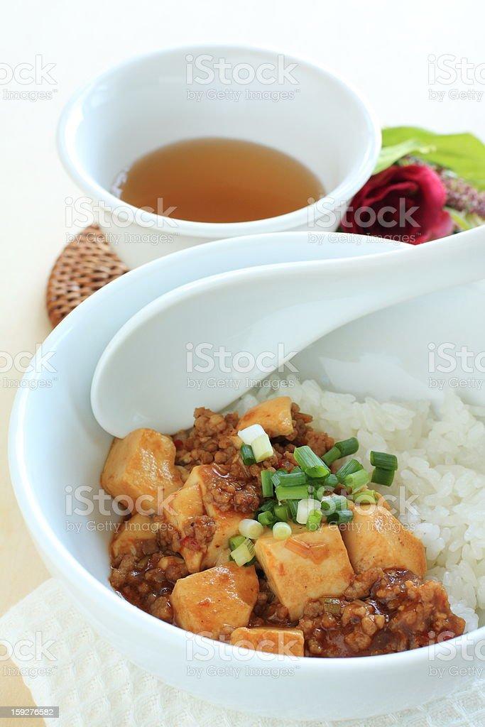 Chinese cuisine, Mapo Tofu on rice royalty-free stock photo