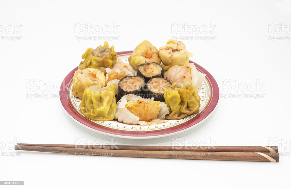 Chinese cuisine, steamed shrimp gyoza  and dimsum on white backg royalty-free stock photo