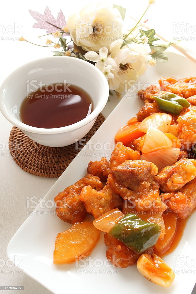Chinese cuisine, sweet & sour pork rib royalty-free stock photo