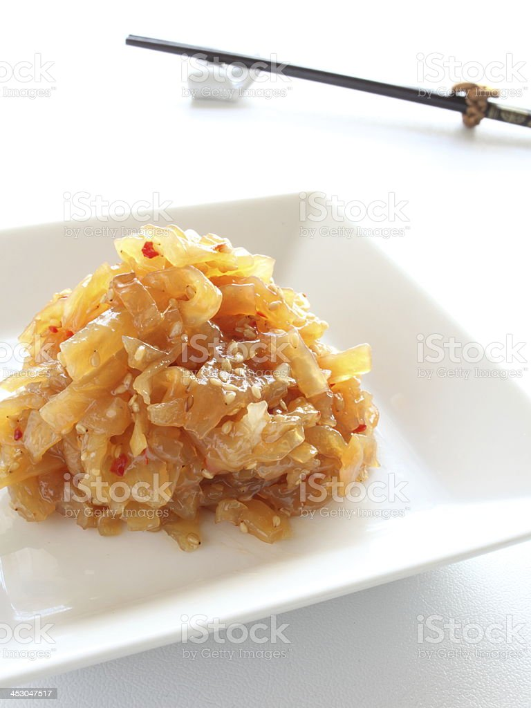 Chinese cuisine, tossed jellyfish royalty-free stock photo